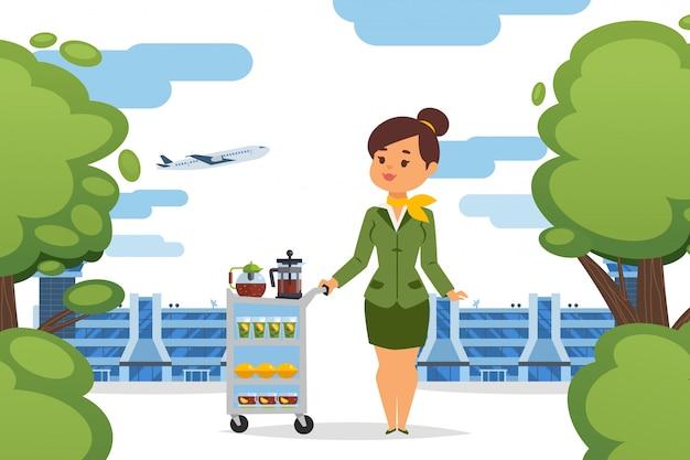 Стюардесса с заваренным чаем на иллюстрации тачки. служба в аэропорту, девушка в униформе предлагает напитки разлитые в бокалы