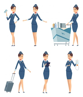 Stewardess. woman hostess professional blue uniform of boarding airplane girl cartoon characters