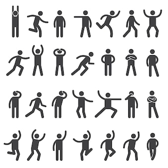 Stick characters. posture icon action figures symbols human body silhouettes