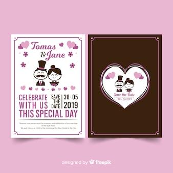 Stick couple wedding invitation template