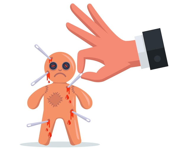 Stick needles into a voodoo doll. perform a magic rite. flat vector illustration