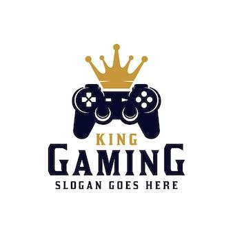 게임 상점, 게이머 프로 플레이어 로고 디자인을 위한 크라운 킹 스포츠 게임이 있는 스틱 또는 조이스틱
