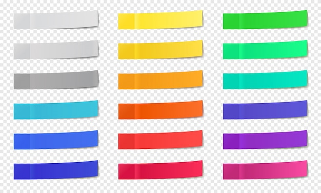 Stick paper notes. post note sticky tape, colorful post notes, memo paper post it notes, narrow office note sticks   icons set. memo office tape, empty adhesive page
