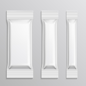 Stick plastic packs vector set for snack product