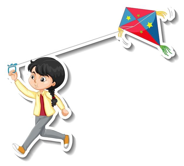 스티커 연 만화 캐릭터를 재생하는 소녀