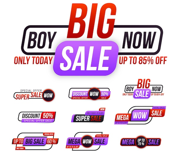 Sticker badge coupon store big sale tags special offer discount best price mega sale banner