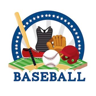 Наклейка бейсбольная спортивная игра с оборудованием