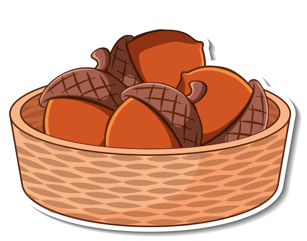 Sticker basket with many acorns