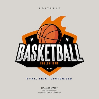 스티커 농구 엠블럼 로고 팀 사용자 정의 텍스트 효과 편집 가능한 프리미엄 벡터