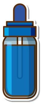 Sticker blue ink bottle on white background