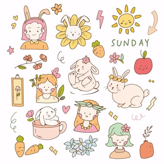 Sticker bunny and little girl aesthetic flat vector. hand drawn icon planner collection set.