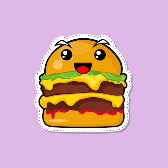 스티커 햄버거 그림입니다. 패스트 푸드 아이콘 개념입니다. 플랫 만화 스타일