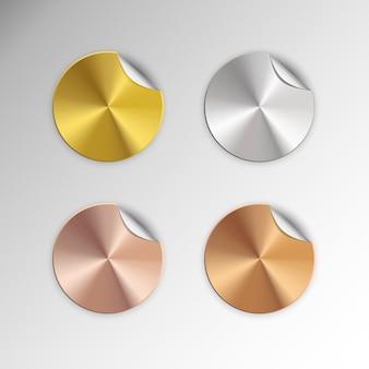 Sticker button label golden premiun