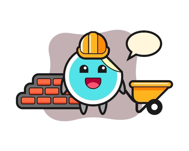 Sticker cartoon as a builder