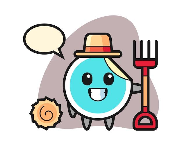 Sticker cartoon as a farmer