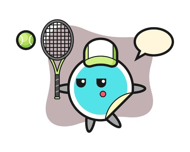 Sticker cartoon as a tennis player