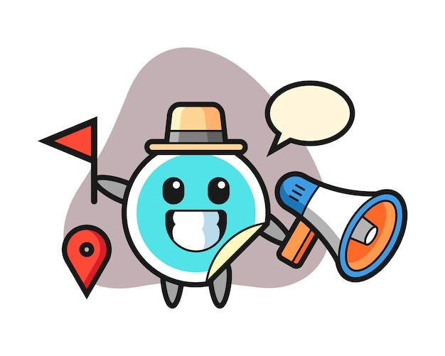 Sticker cartoon as a tour guide