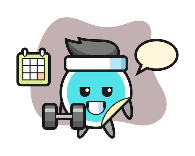 Sticker cartoon doing fitness with dumbbell