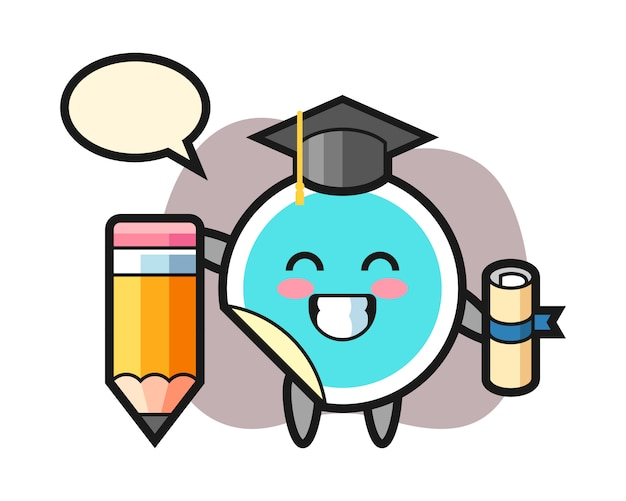 Sticker cartoon graduation with a giant pencil