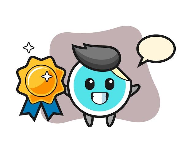 Sticker cartoon holding a golden badge