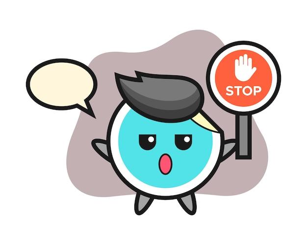 Sticker cartoon holding a stop sign