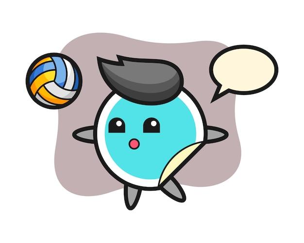 Наклейка мультфильм играет в волейбол
