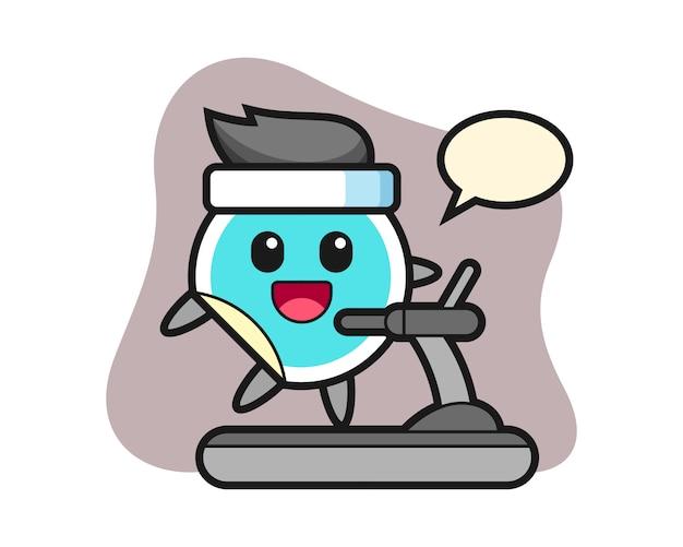 Sticker cartoon walking on the treadmill