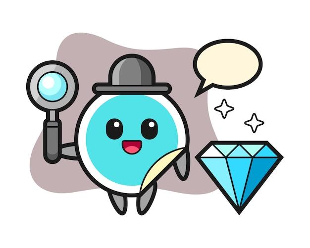 Наклейка мультфильм с бриллиантом