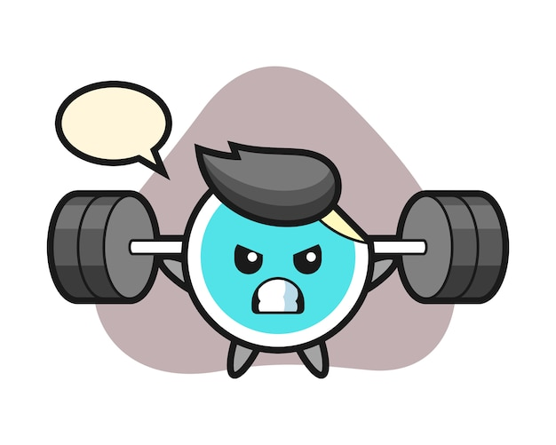 Sticker cartoon with a barbell