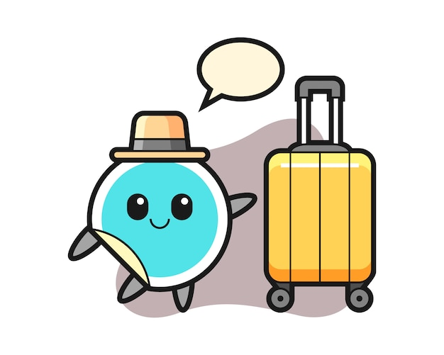 Sticker cartoon with luggage on vacation