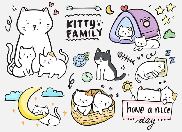 Sticker of cat family doodle outline drawing set