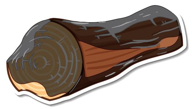 白い背景の上のステッカーの木炭木製ログ