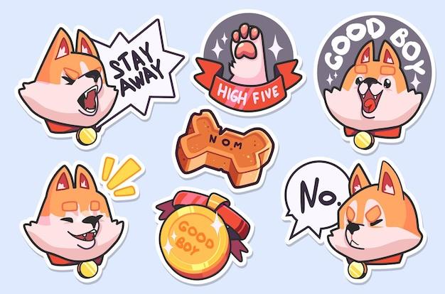 Sticker collection of emoji cartoon dog emoticons. vector illustrations