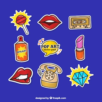 Collezione di adesivi con stile pop art