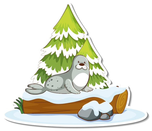 Sticker a cute seal stand by pine tree covered with snow