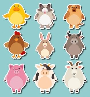 귀여운 농장 동물을위한 스티커 디자인