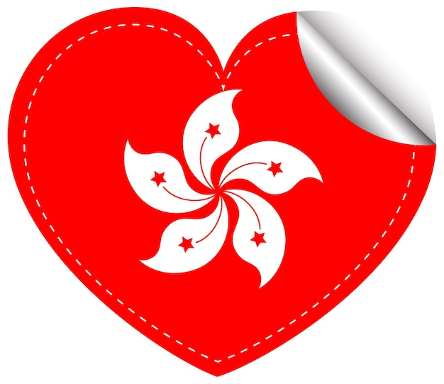 하트 모양의 홍콩 국기 스티커 디자인