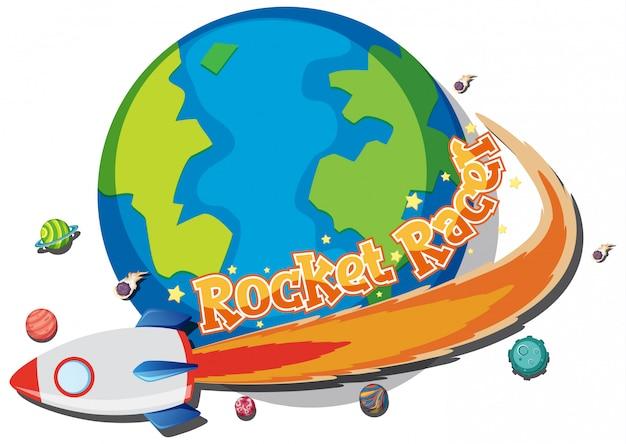 地球の周りの宇宙船でロケットレーサーのステッカーデザイン