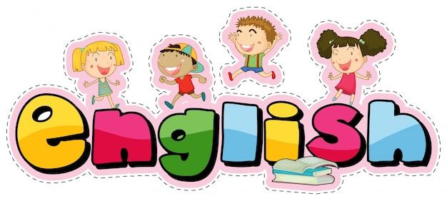 행복한 아이들과 단어 영어 스티커 디자인