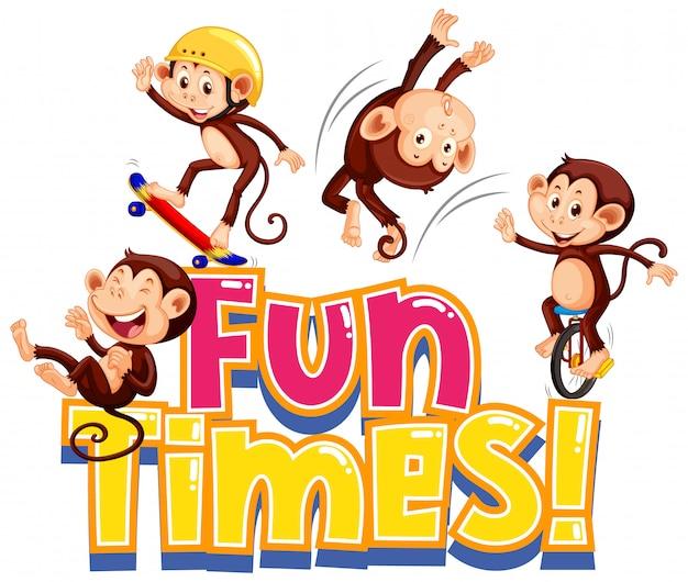 Дизайн наклейки для забавных слов с милыми обезьянами