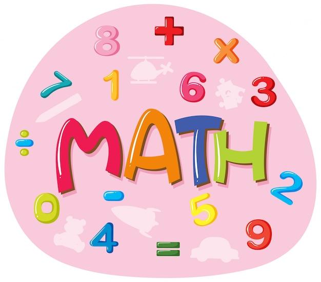 단어 수학을위한 스티커 디자인