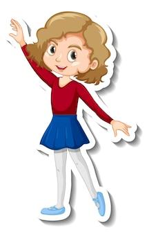 Дизайн стикера с девушкой-балериной танцует мультипликационный персонаж