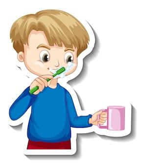 彼の歯の漫画のキャラクターを磨く少年とステッカーのデザイン