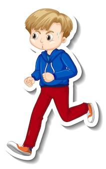 漫画のキャラクターをジョギングする男の子とステッカーのデザイン