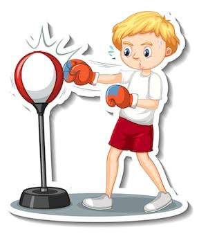 Дизайн наклейки с персонажем мультфильма мальчик боксерская груша