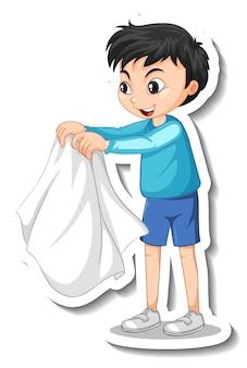 소년이 고립 된 그의 코트를 벗고 스티커 디자인