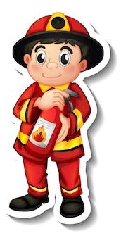 Дизайн стикера с мультипликационным персонажем пожарного