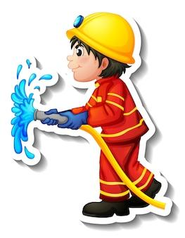 Дизайн стикера с мультяшным персонажем пожарного