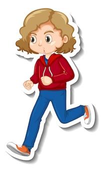 Дизайн стикера с персонажем мультфильма девушка бегает трусцой