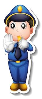 Дизайн стикера с мультипликационным персонажем полицейского